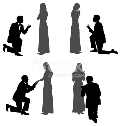 Silhouette Of A Man Proposing His Girlfriend Stock Vector