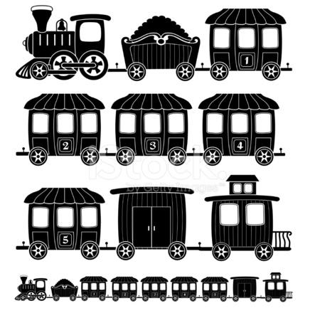 Locomotora De Tren En Blanco Y Negro De Dibujos Animados Stock