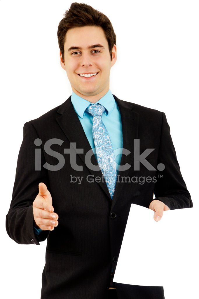 Charming Young Man Handing Out Paper Stock Photos Freeimages