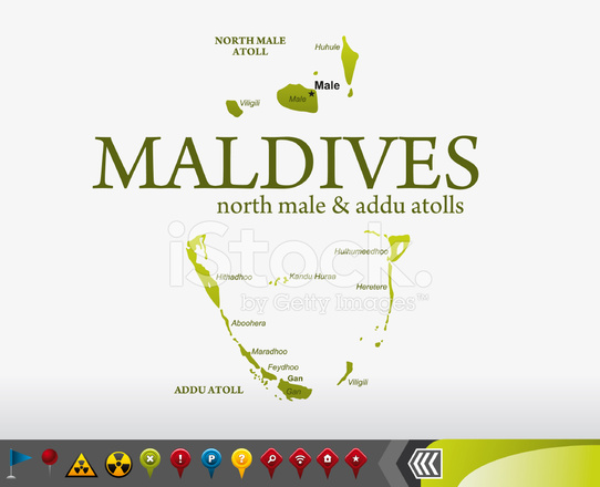 Maldives Map With Navigation Icons