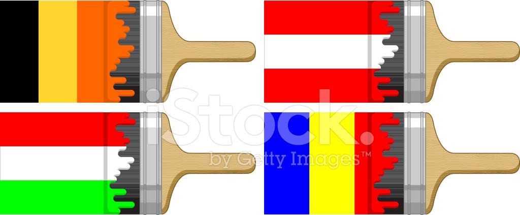 Fırça Bayrağı Boyama Belçika Macaristan Avusturya Romanya Stock
