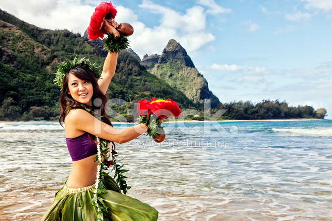 Hawaiian Hula Dancer On Beach With Red Feather Shakers Stock Photos Freeimages Com