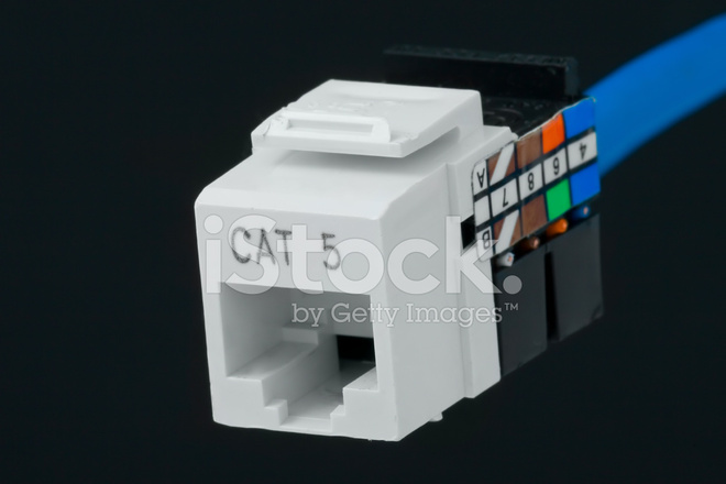 network plug for wall outlet cat 5 stock photos