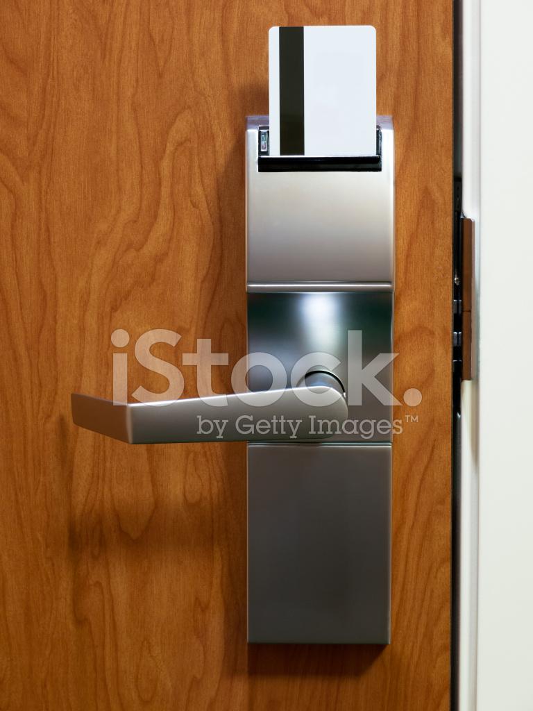 Hotel Room Electronic Keycard Door Lock Stock Photos