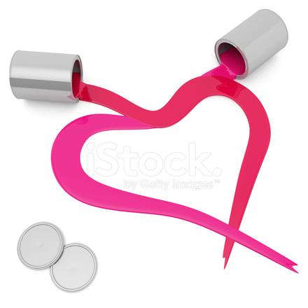 Iki Renkli Boya Ile Yapılan Kalp Stok Fotoğrafları Freeimagescom
