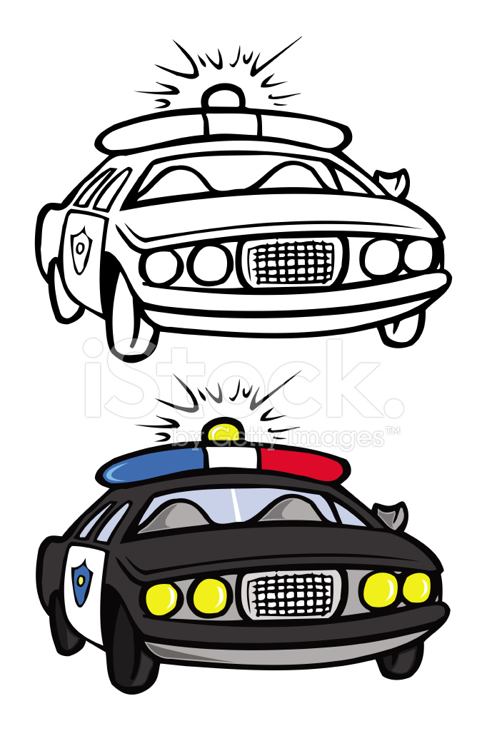 警察车着色书 Stock Vector Freeimages Com