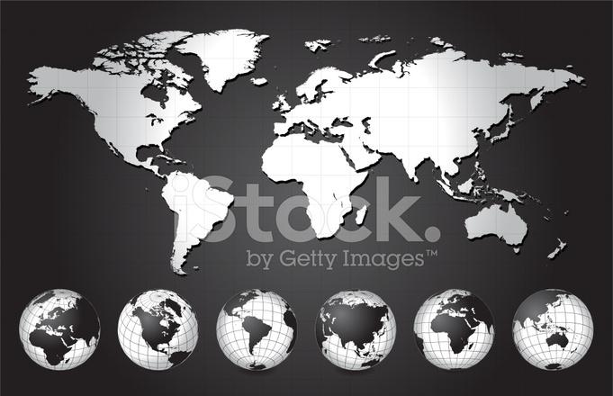 Mappa Del Mondo In Bianco E Nero Con La Collezione Globo Stock