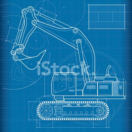 Blueprint excavador stock vector freeimages blueprint excavador malvernweather Image collections