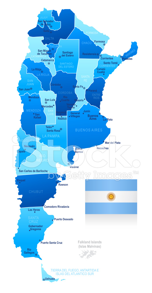 Map of Argentina States Cities and Flag Stock Vector FreeImagescom