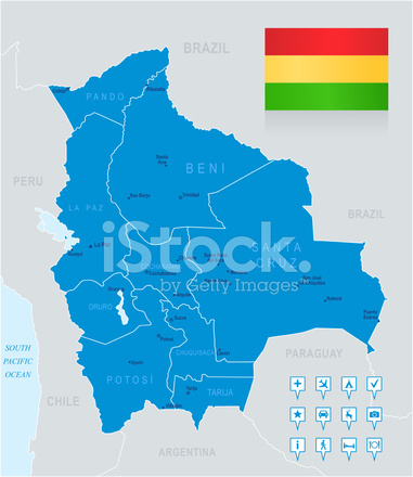 Map Of Bolivia States Cities Flag And Navigation Icons Stock - Map of bolivia