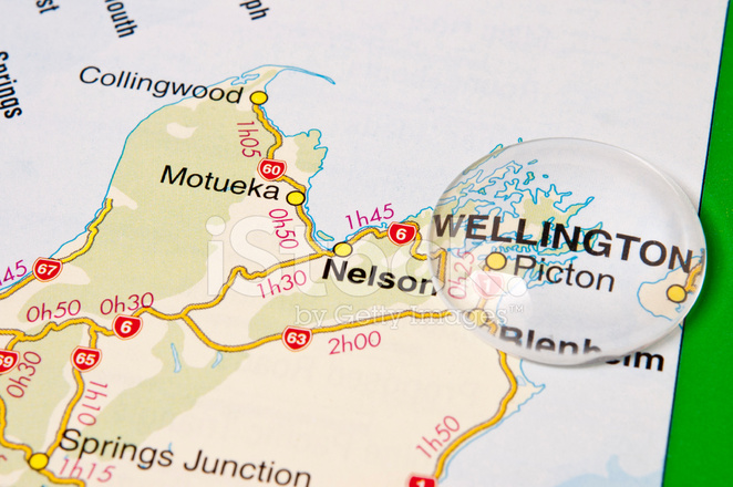 Map Wellington New Zealand.New Zealand City Of Wellington Highlighted On A Map Stock Photos