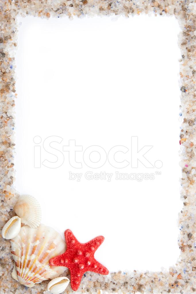 Cornice Di Conchiglie Sale Di Mare E Sabbia Fotografie Stock