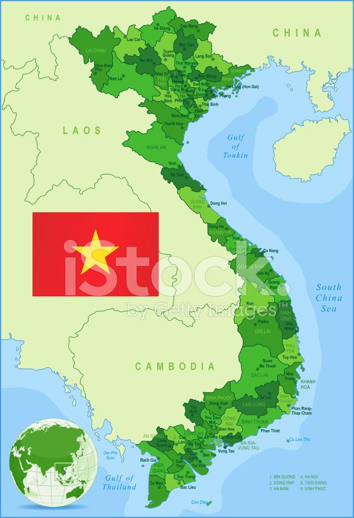 Vietnamkrieg Karte.Grüne Karte Von Vietnam Staaten Städte Und Flagge Stock Vector