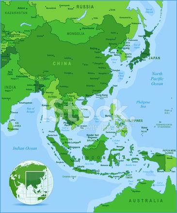 östra asien karta Gröna Karta Över Östra Asien Stock Vector   FreeImages.com östra asien karta