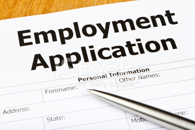 Close Up Of An Employment Application Form Stock Photos