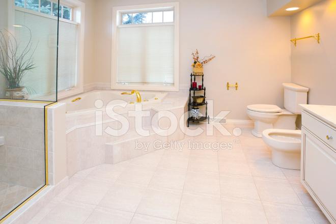 Elegante vetro e piastrelle bagno con vasca idromassaggio bidet