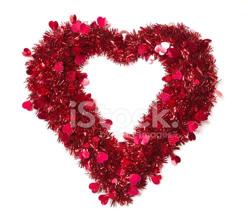 Kalp Küçük Kalpler Ile Parlak Tinsel şeklinde Stok Fotoğrafları