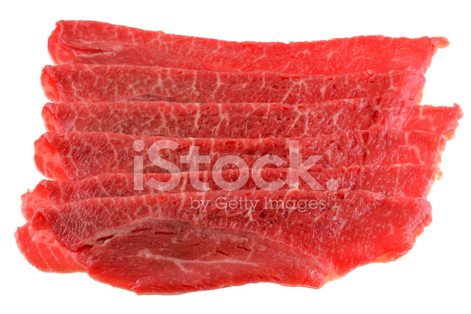 delgado recién slided bulgogi carne fotografías de stock