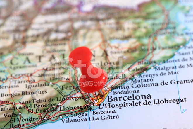 Barcelona Map Spain Europe Stock Photos Freeimages Com