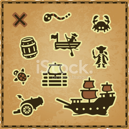 Treasure Map Icons Stock Vector - FreeImages.com Treasure Map Icons