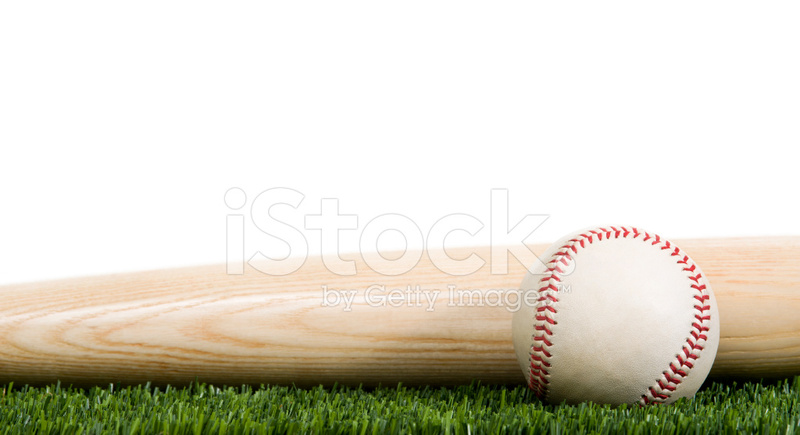 Baseball And Wooden Bat On Grass With White Background