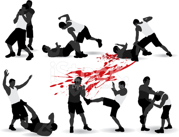 fighting silhouette stock vector freeimages com