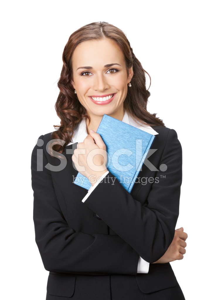 Businesswoman with notepad or organizer, isolated