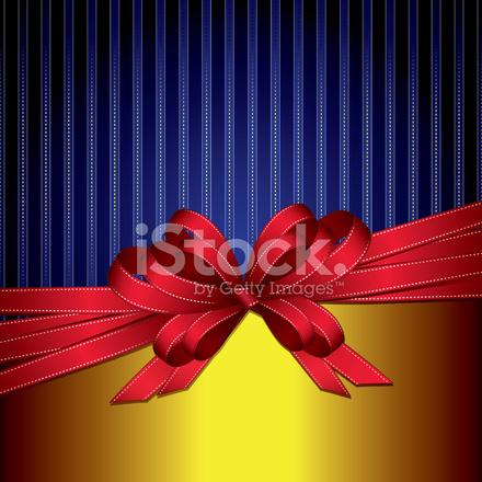 Fiocco Di Nastro Regalo Rosso Su Sfondo Blu E Oro Stock Vector