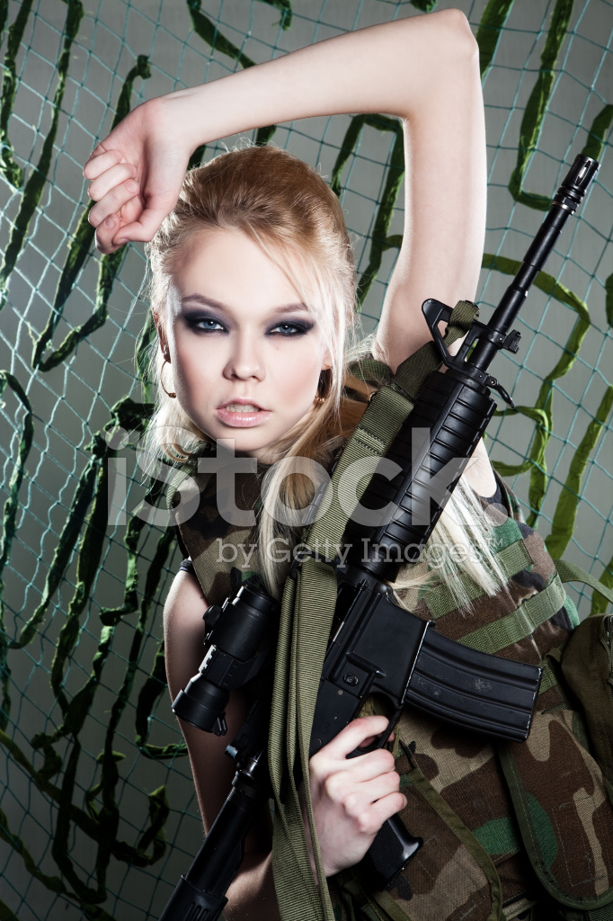 Beautiful Woman Soldier Stock Photos - FreeImages.com M16 Airsoft