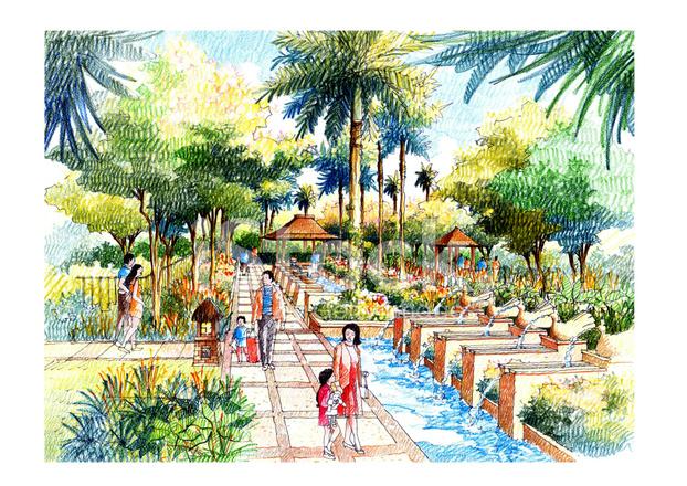 Landscape garden sketch series stock vector for Landscape and garden design sketchbooks