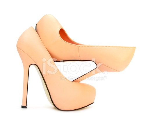Apricot Farbe High Heels Pump Schuhe Stockfotos Freeimages Com