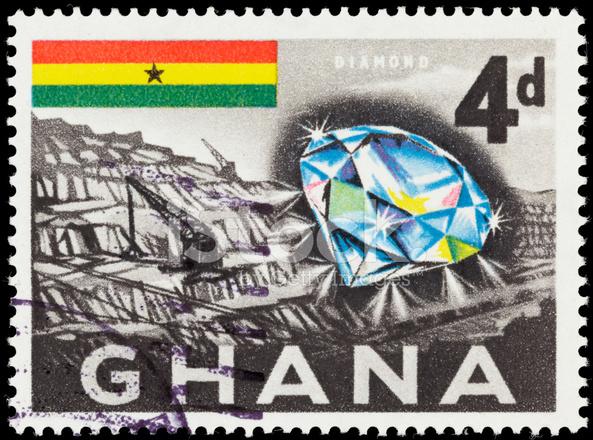 Ghana Diamond Mine And Flag Postage Stamp Stock Photos