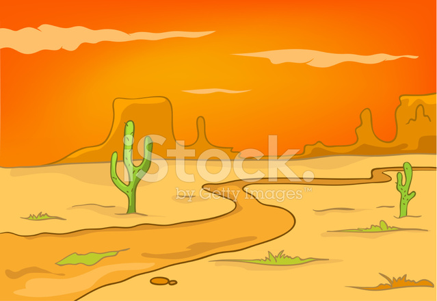 Dibujos Animados Naturaleza Paisaje Desierto fotografas de stock