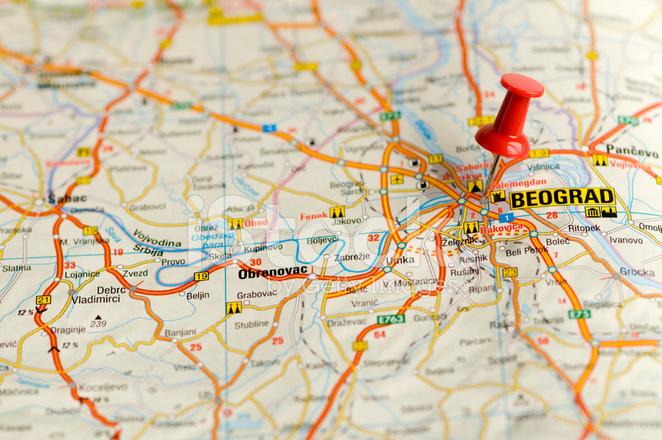 Pino No Mapa Belgrado Desitnation Viagens Fotos Do Acervo