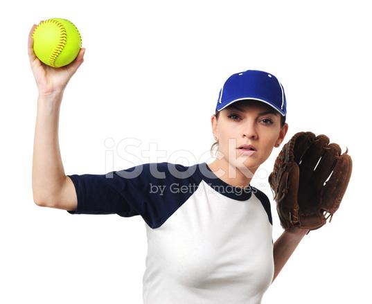 Lanciatore Di Softball Femminile Isolato SU Sfondo Bianco Fotografie ... 2bd1b2a8930d