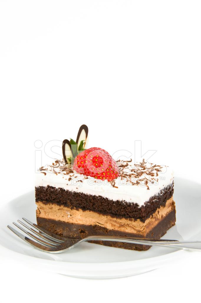 Stuck Schokolade Kuchen Mit Erdbeeren Dekorieren An Der Spitze