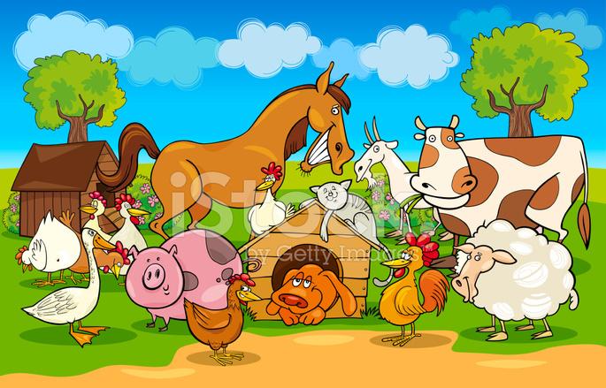 Scena rurale di cartone animato con animali da fattoria