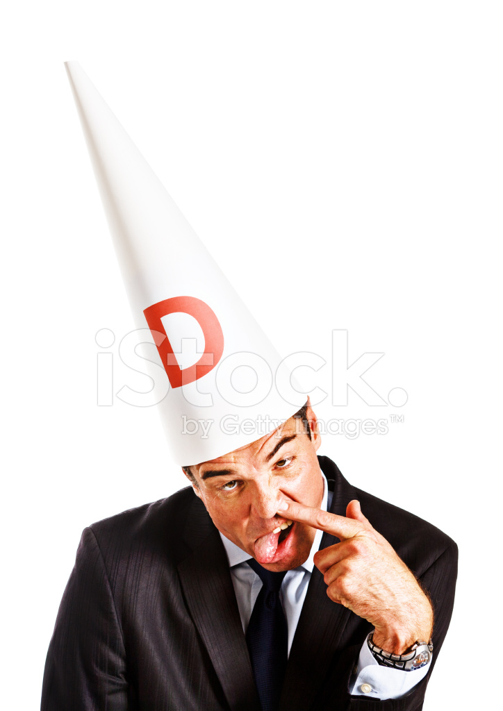 Businessman IN Dunce Cap Makes Stupid Face Work IS Insane