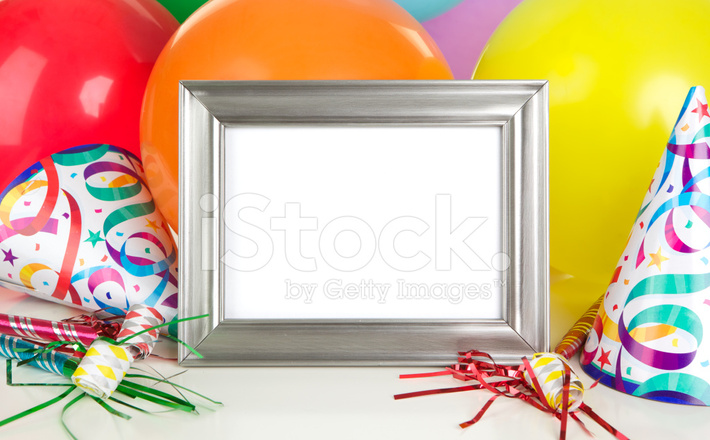 Birthday Party Background With Empty Photo Frame Stock Photos ...
