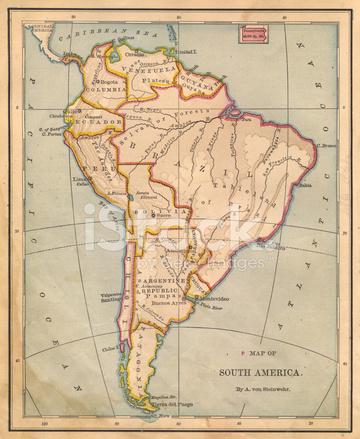 Ancienne carte de couleur de l 39 am rique du sud depuis les for What color is south america