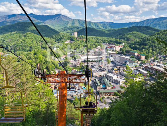 High Quality Premium Stock Photo Of Ski Lift Overlooking The Smoky Mountains And  Gatlinburg