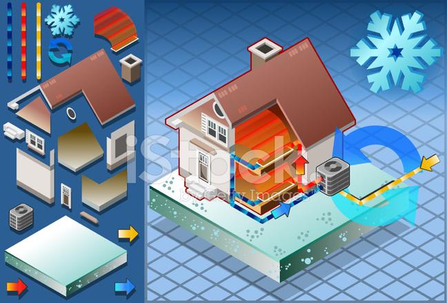 Isometrische Haus Mit Klimaanlage In Der Warmeerzeugung Stock Vector