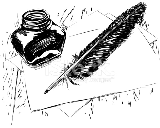 Quill And Inkwell Drawing Hand Drawn Ink ...