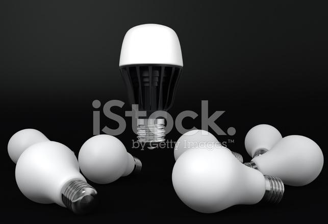 single led bulb shinning over incandescent light bulbs. Black Bedroom Furniture Sets. Home Design Ideas