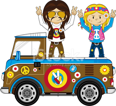 Camper Pick Up >> 接机露营车的嬉皮士 Stock Vector - FreeImages.com