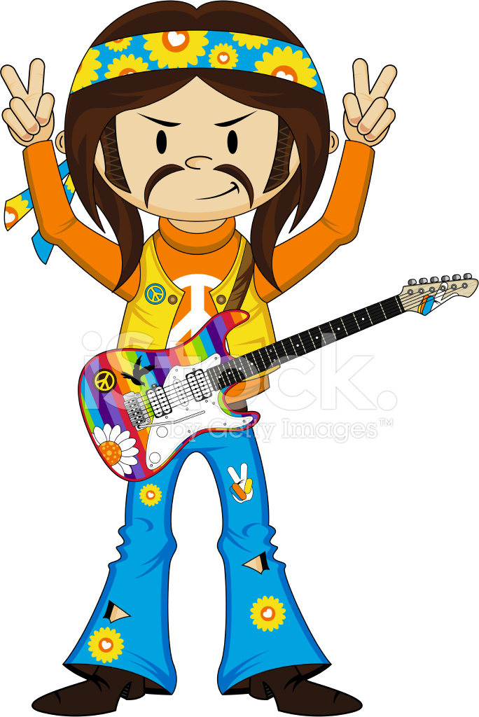 Headband Hippie Boy With Guitar Stock Vector Freeimages Com