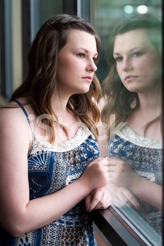 Sad Teen Girl Looking Out Window Stock Photos Freeimages Com