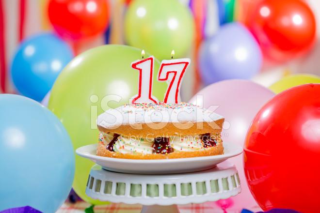 Number 17 Candles Cake Stock Photos