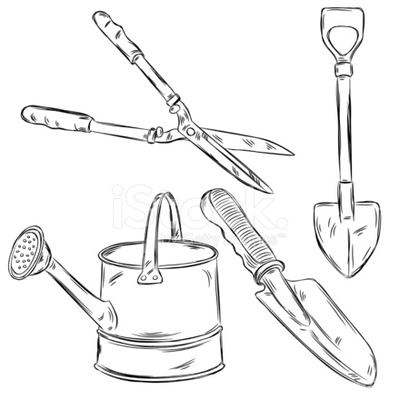 Detailed Drawings of Gardening Tools Stock Vector - FreeImages.com
