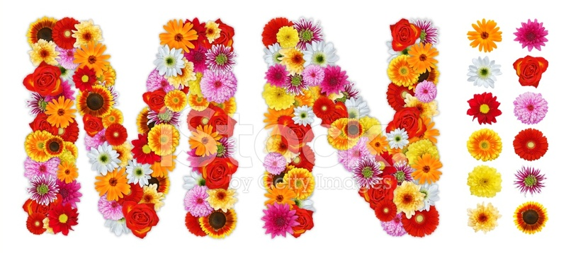 characters m and n made of various flowers stock photos. Black Bedroom Furniture Sets. Home Design Ideas